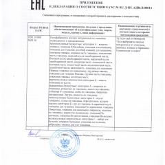 Приложение к декларации о соответствии ПОЛУФАБРИКАТЫ МЯСНЫЕ