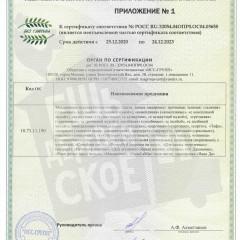 Сертификат соответствия_Приложение_Без глютена
