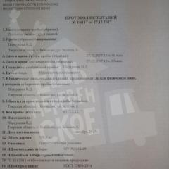 Протокол испытаний УКРОП 1/2