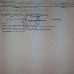 Протокол испытаний УКРОП