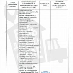 Декларация о соответствии_шоколад_Приложение 1_лист 2