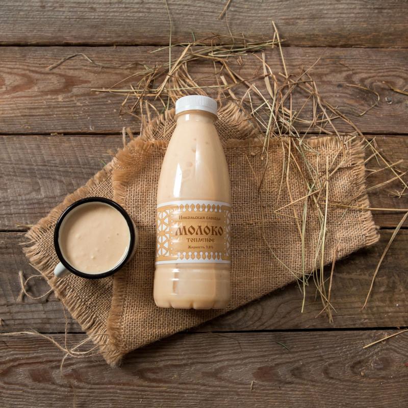 Молоко топленое 3,8%Настоящее деревенское топленое молоко от коров Швицкой породы. Обладает приятным ароматом и нежным сливочным вкусом.<br><br>Вес мл.: 500