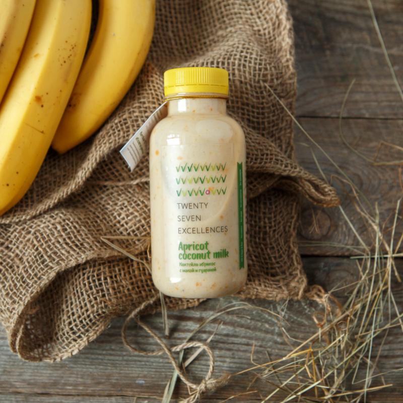 Коктейль абрикосовый на кокосовом молокеНежный, легкий коктейль на основе кокосового молока высочайшего качества. Для вкуса мы добавили  ягоды, фрукты и активированные орехи; для пользы -<br> природные энергетики мака и гуарана.<br><br>Мака («перуанский женьшень») - улучшает состояние кожи, препятствует старению, натуральный афродизиак и энергетик.<br>Гуарана - улучшает память, повышает внимание и настроение, помогает устранять последствия приема алкоголя, снижать вес.<br>Продукт не содержит компонентов животного происхождения, глютена, консервантов и трансжиров.<br><br>Вес мл.: 300