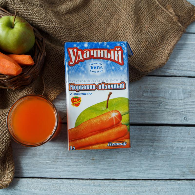 Нектар морковно-яблочныйНектар морковно-яблочный вырабатывается из моркови и яблок, выращенных в Совхозе имени Ленина<br><br>Вес литр: 1
