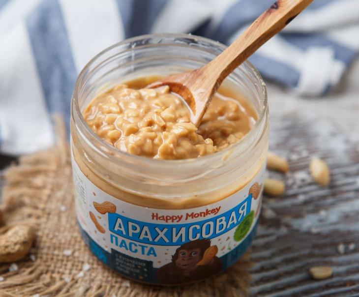Арахисовая паста с кусочками арахиса и морской солью