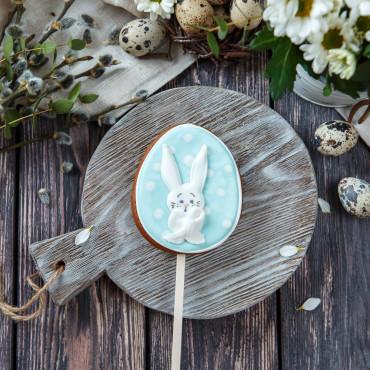 Пряник пасхальный Яйцо голубое с Кроликом