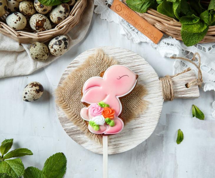 """Пряник пасхальный """"Кролик"""" розовый"""