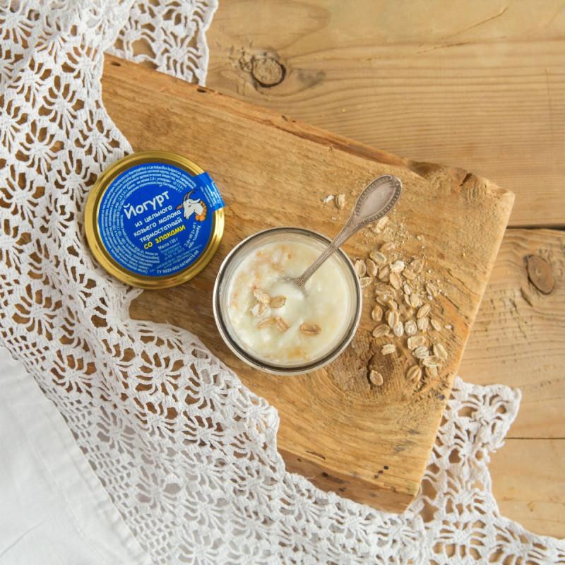 Йогурт из цельного козьего молока термостатный со злакамиВсегда свежий натуральный и полезный термостатный йогурт из цельного козьего молока для Вас и Ваших детей. В составе только свежее пастеризованное козье молоко и йогуртовая закваска.<br><br>Вес г.: 130