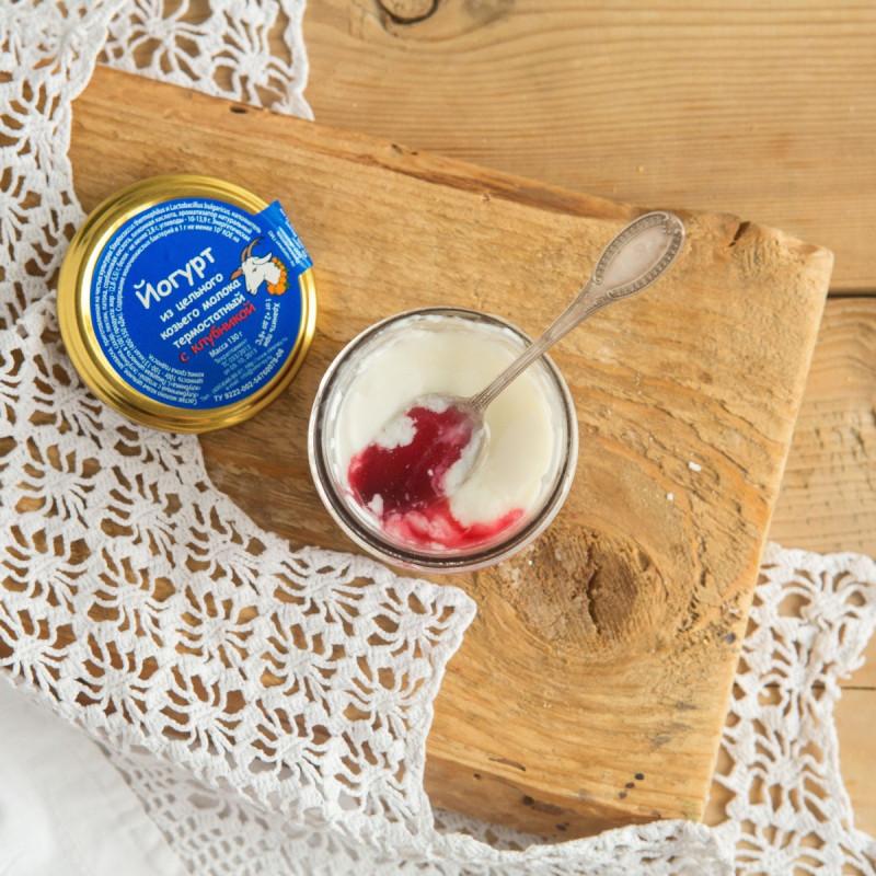 Йогурт из цельного козьего молока термостатный с клубникойВсегда свежий натуральный и полезный термостатный йогурт из цельного козьего молока для Вас и Ваших детей. В составе только свежее пастеризованное козье молоко и йогуртовая закваска.<br><br>Вес г.: 130