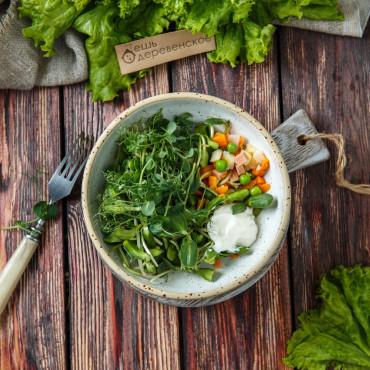 Салат Оливье с микро зеленью подсолнечника постный