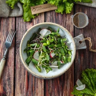 Салат микс микрозелени с соусом терияки и имбирем