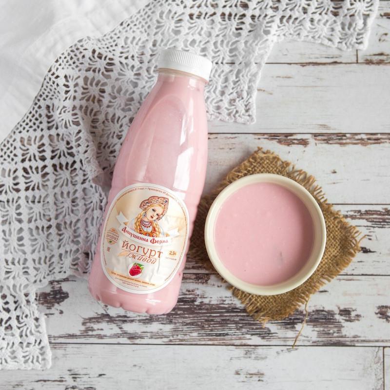 Йогурт живой с ягодами малины с Аннушкиной фермыНатуральный йогурт, приготовлен из цельногопастеризованного молока коров швицкой породы с добавлением малины.<br><br>Вес мл.: 500