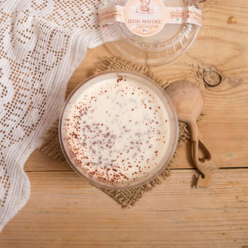 Десерт «Блан-Манже»Нежный молочный пудинг, приготовлен из пастеризованных сливок и украшен шоколадной крошкой.<br><br>Вес г.: 150