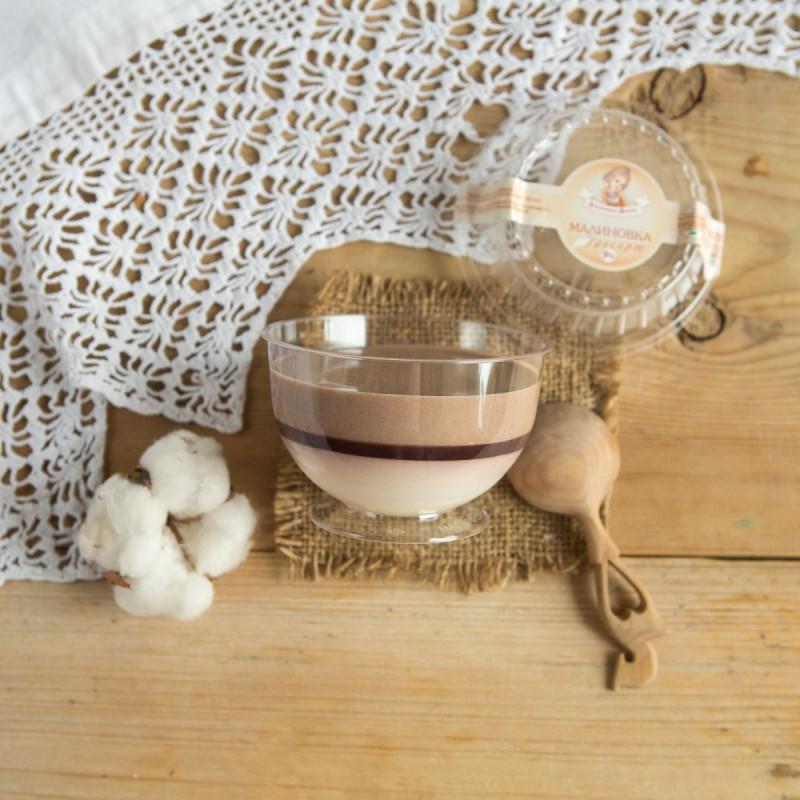 Десерт Малиновка с Аннушкиной фермыТрехслойный молочный десерт с лесной малиной и какао, приготовлен на основе кефира.<br><br>Вес г.: 150