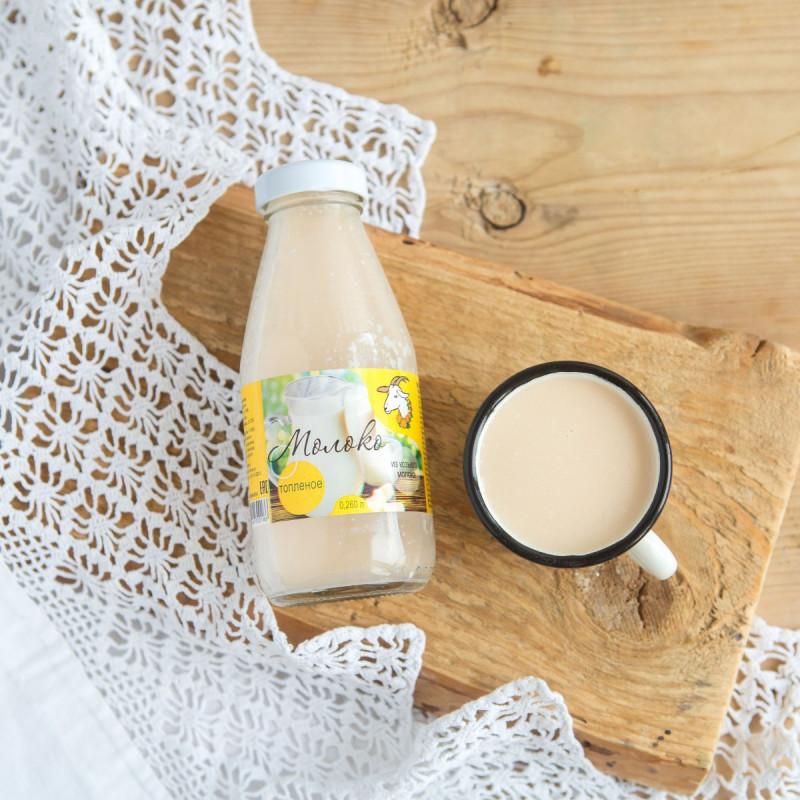 Молоко топленое козье 2,8 - 5,5%Изготовлено из цельного козьего молока без каких-либо изменений составных частей молока и без добавлений к готовому продукту.<br><br>Вес мл.: 260
