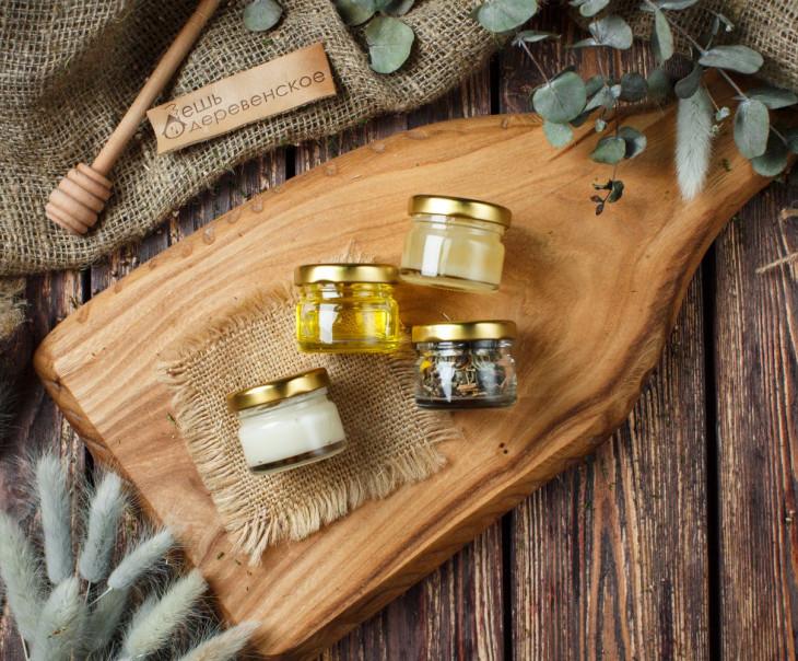 """Подарочный набор """"Алтайский презент"""" - 2 вида мёда, кедровое масло и уникальный чайный напиток"""