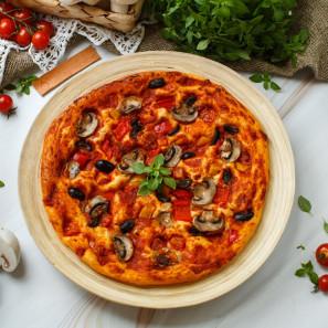Пицца веганская с овощами и грибами