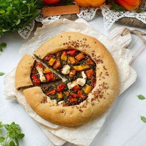 Пирог веганский из ц/з муки со шпинатом, болгарским перцем и тофу