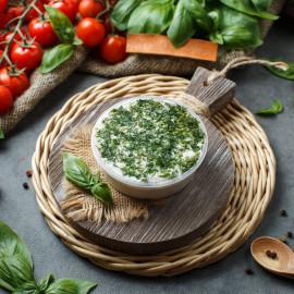 Сало белорусское с чесноком и зеленью (бутербродное)