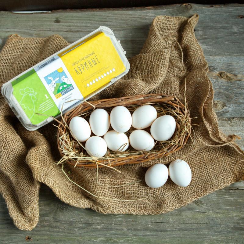 Яйца куриныеБелые яйца высшей категории. Куры содержатся в закрытых свободных птичниках, питаются натуральным кормом: зерном, травой, ракушечником и белковой подкормкой.<br><br>Вес шт: 10
